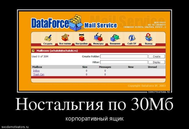 Ностальгия по 30Мб почтовому ящику