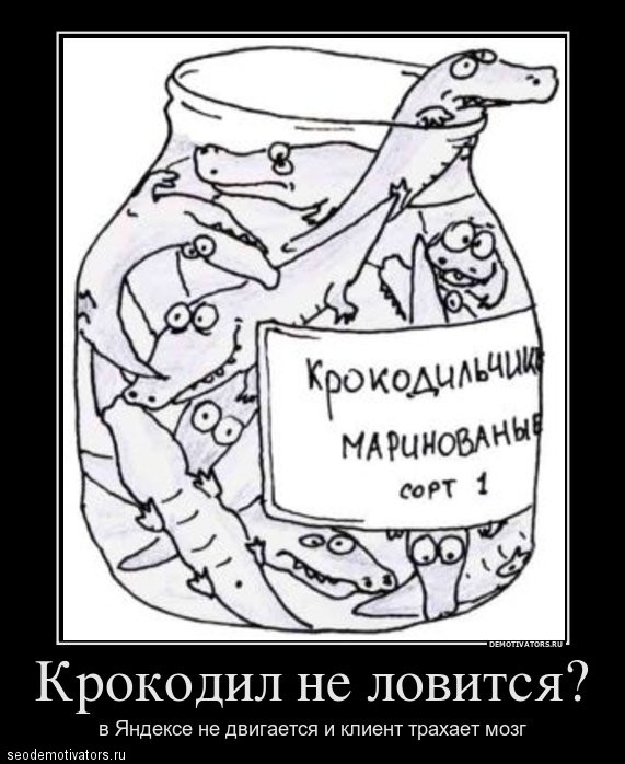 Крокодил не ловится? В яндексе не двигается и клиент трахает мозг?
