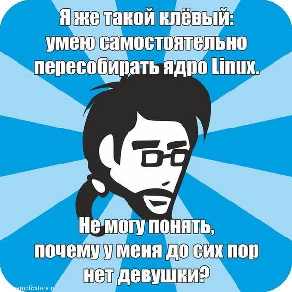 Я же такой клевый, умею самостоятельно пересобирать ядро Linux. Не могу понять. почему у меня до сих пор нет девушки